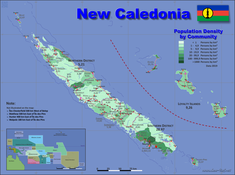 Map New Caledonia Popultion density by administrative division