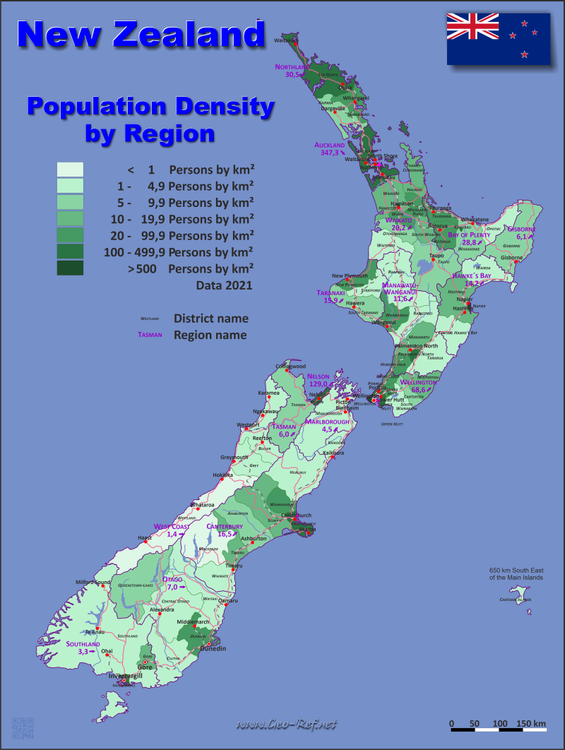 Map New Zealand - Population density