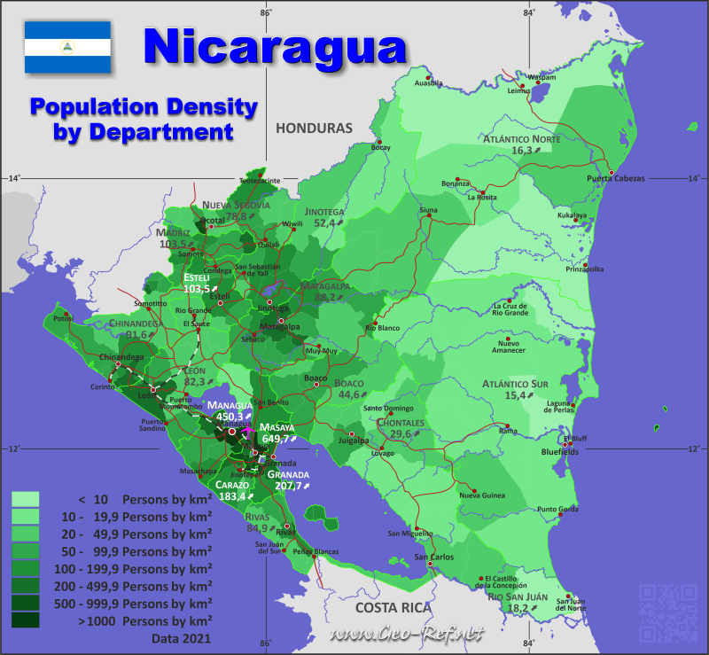 Map Nicaragua Popultion density by administrative division
