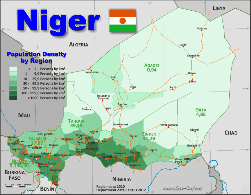 Map Niger - Popultion density by administrative division