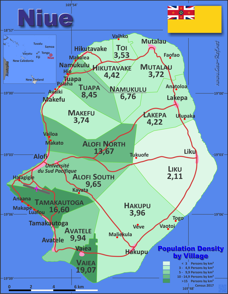 Map Niue Popultion density by administrative division