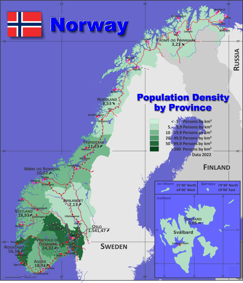 Map Norway - Population density