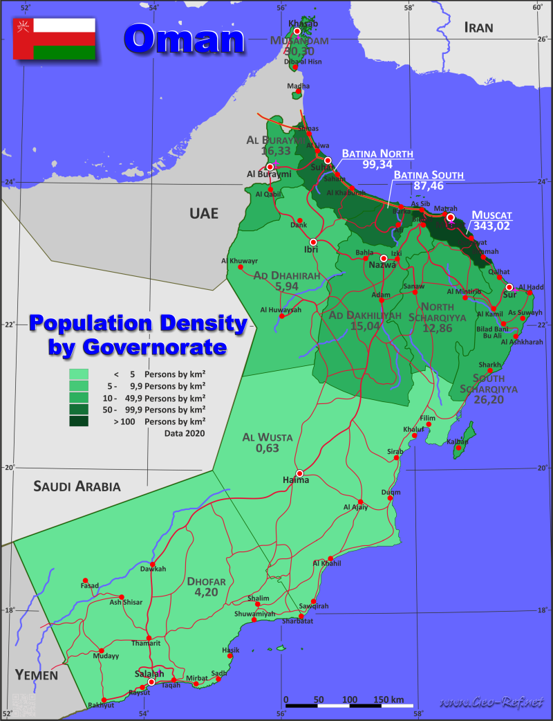 Oman Country data links and maps of the population density by