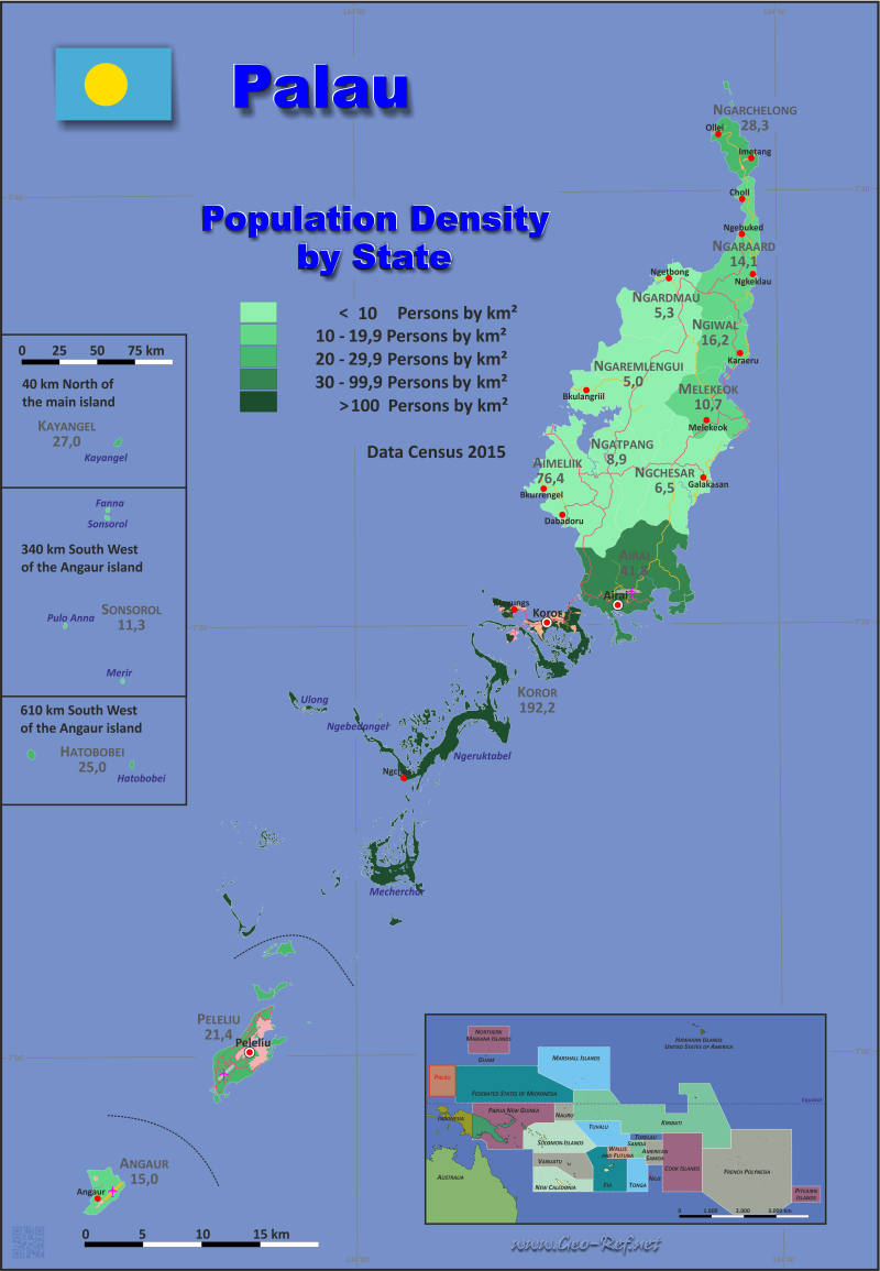 Map Palau - Administrative division - Population density 2015