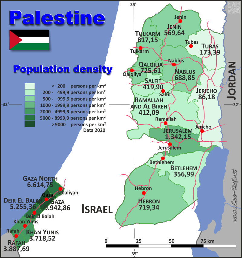 Map Palestine - Administrative division - Population density 2020