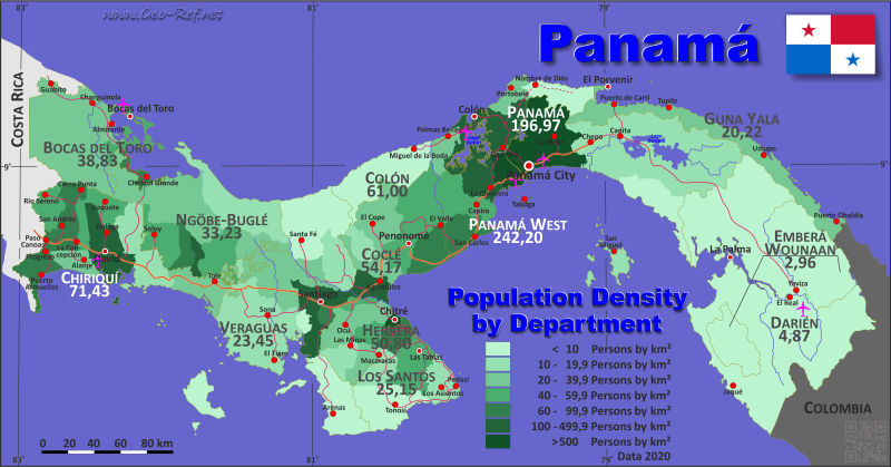Map Panama Popultion density by administrative division
