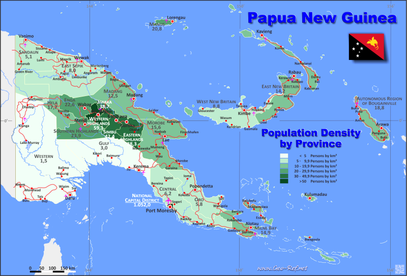 Map Papua New Guinea Popultion density by administrative division