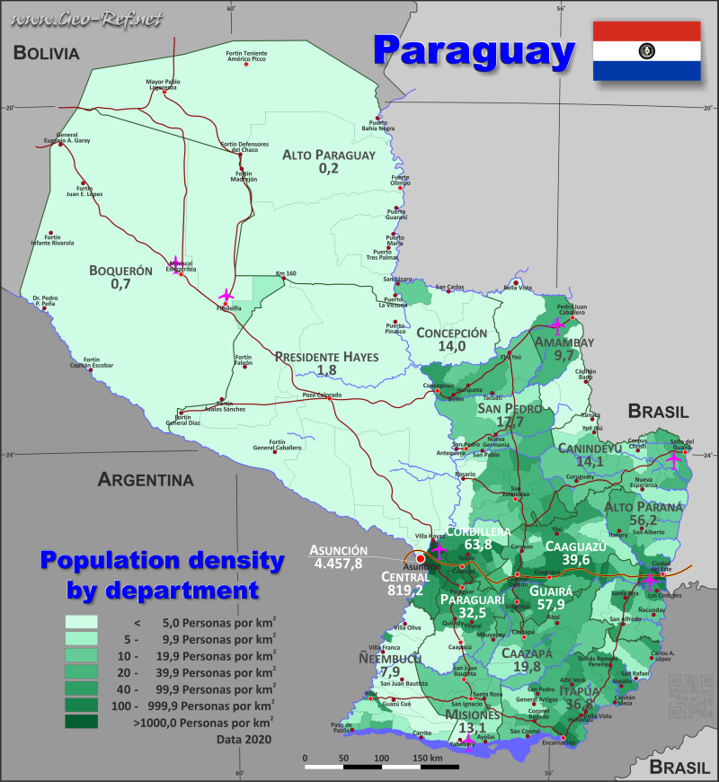 Map Paraguay - Population density