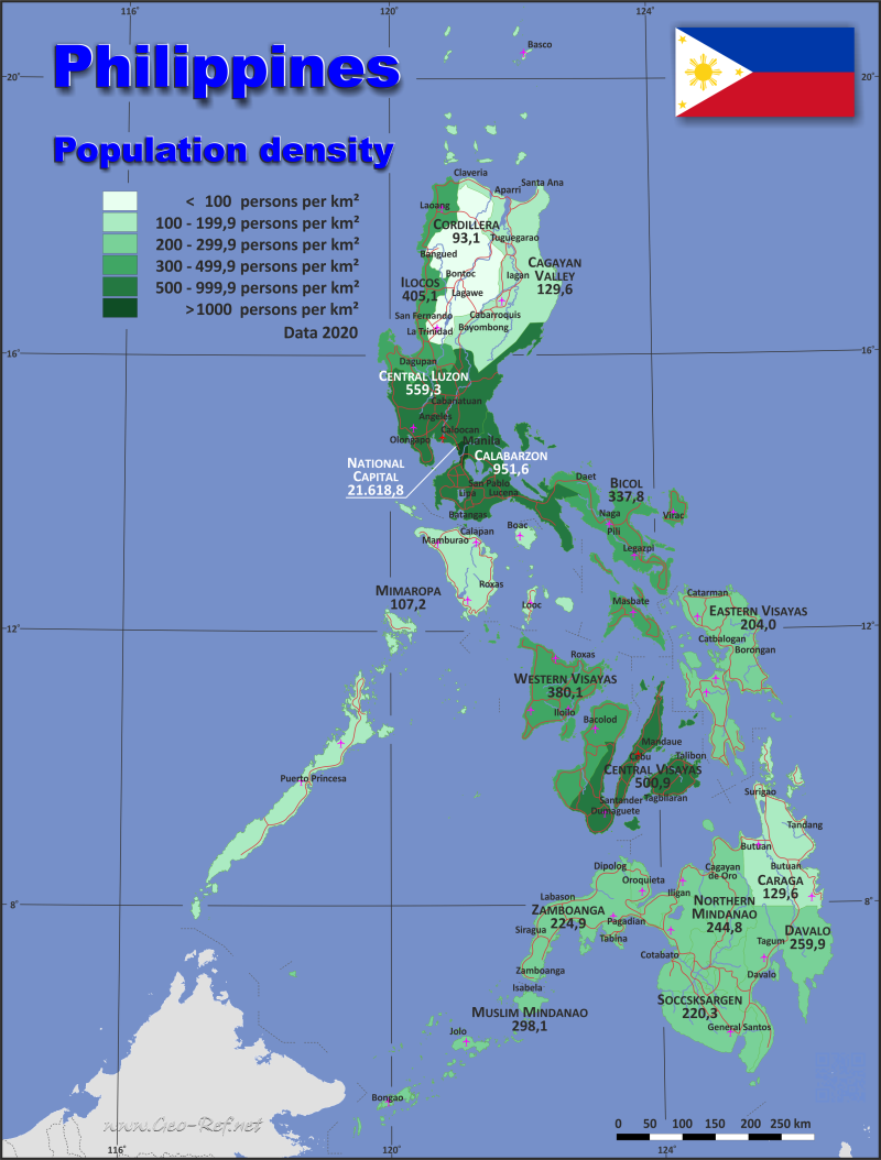 Map Philippines - Population density