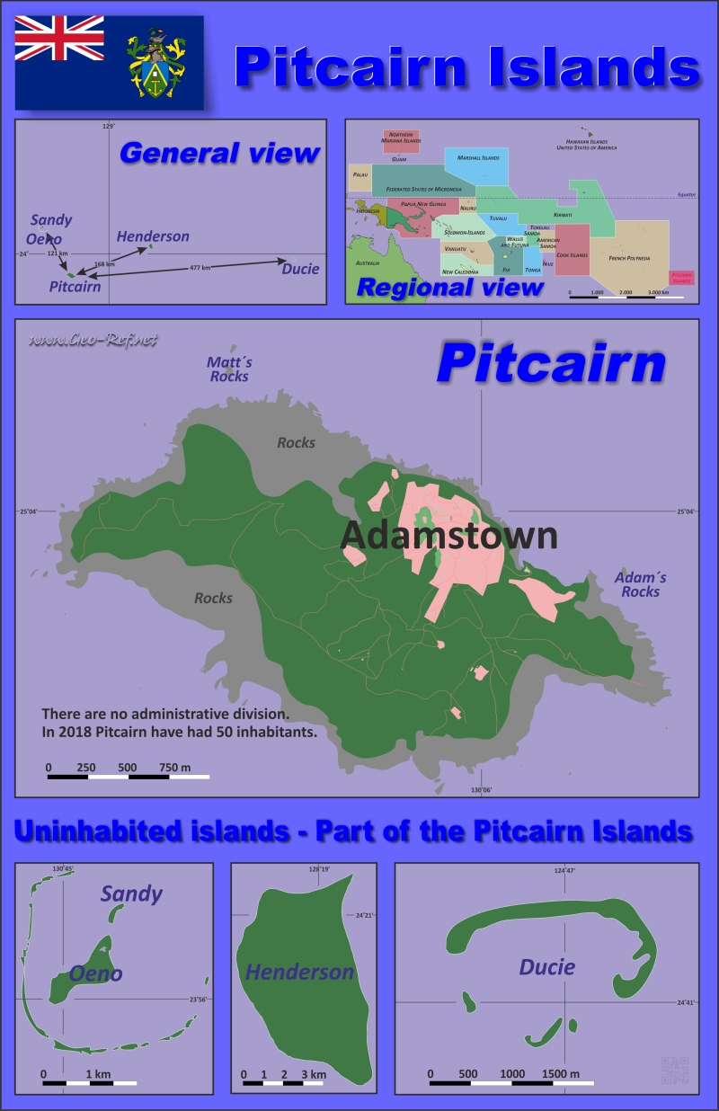 Map Pitcairn Islands - Population density