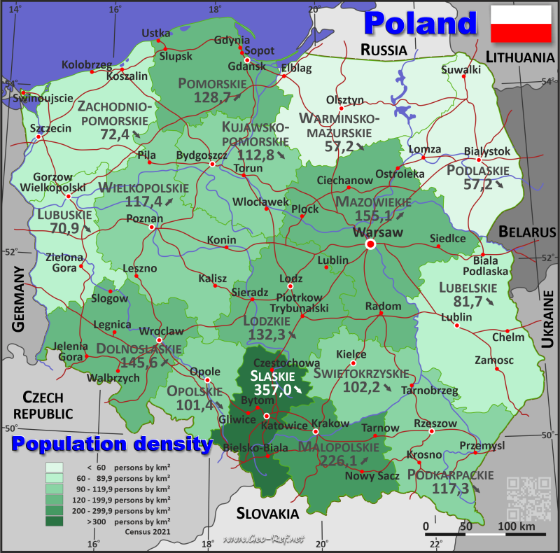 Map Poland - Administrative division - Population density 2020