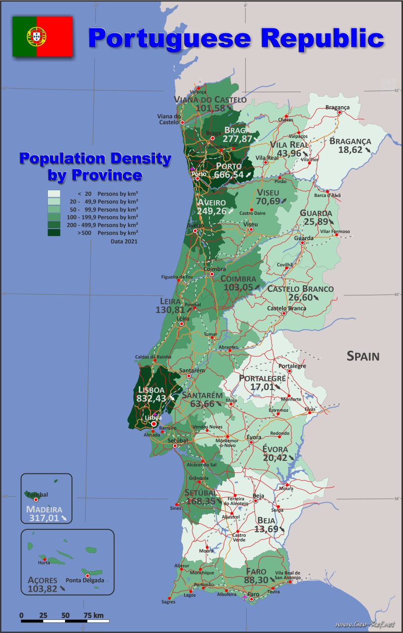 Map Portugal - Administrative division - Population density 2020