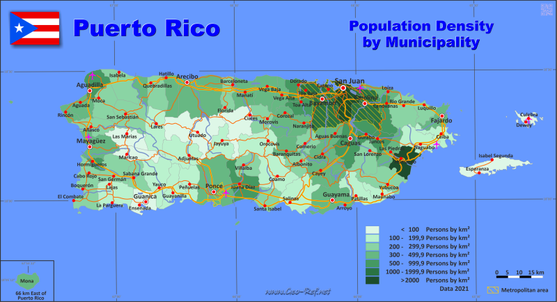 Map Puerto Rico - Administrative division - Population density 2019