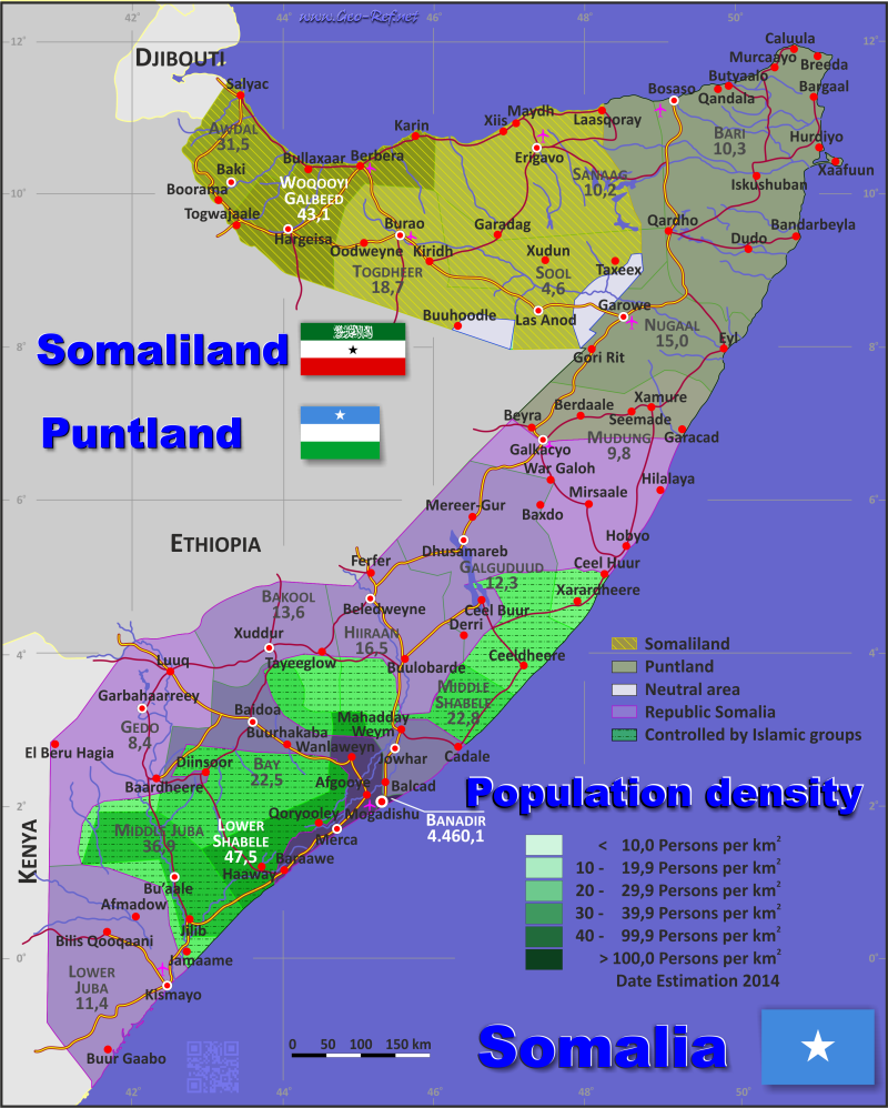 Map Somaliland - Administrative division - Population density 2017