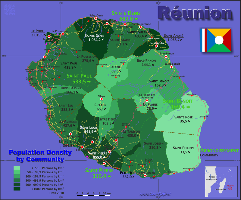 Map Reunion - Administrative division - Population density 2017