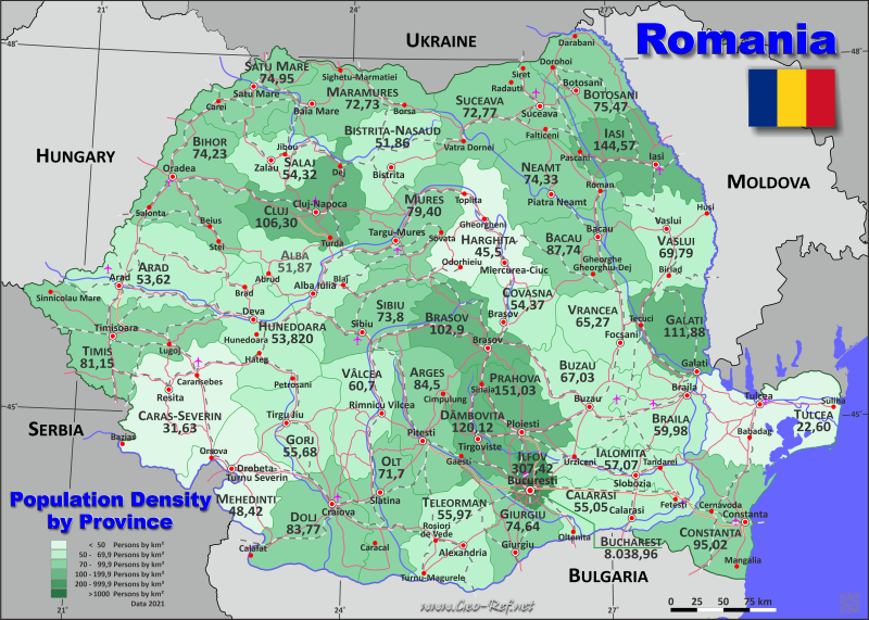 Map Romania - Administrative division - Population density 2019