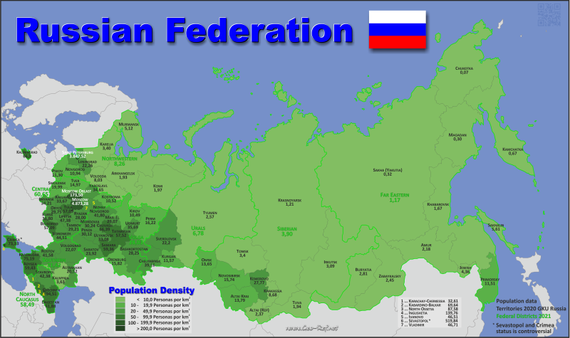 Map Russia - Administrative division - Population density 2019