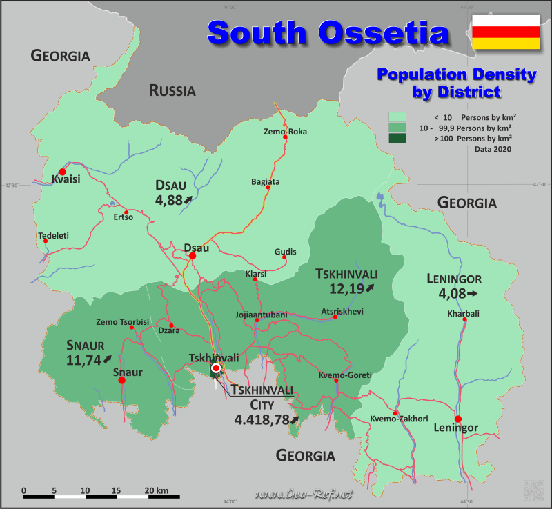 Map South Ossetia - Administrative division - Population density 2020