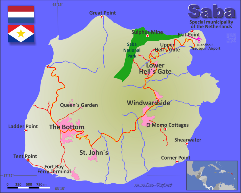 Map Saba - Administrative division - Population density 2020