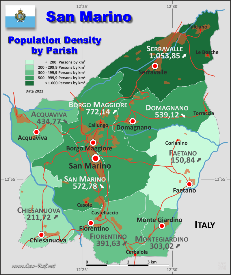 San Marino Country data links and maps of the population density by