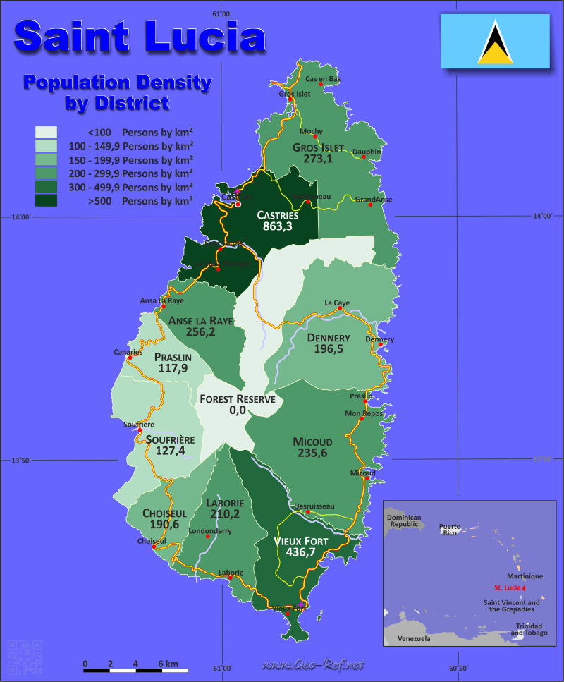 Saint Lucia Country data links and maps of the population density