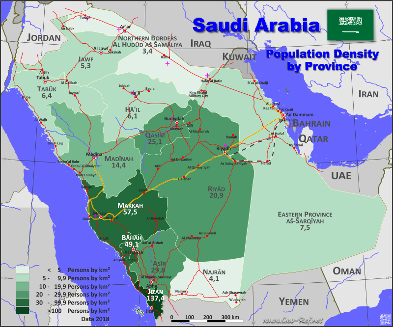 Saudi Arabia Country data links and maps of the population density