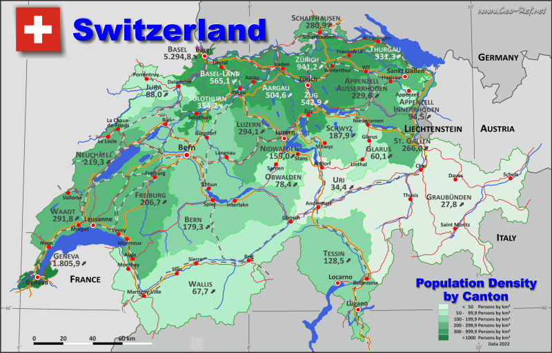 Map Switzerland - Administrative division - Population density 2019