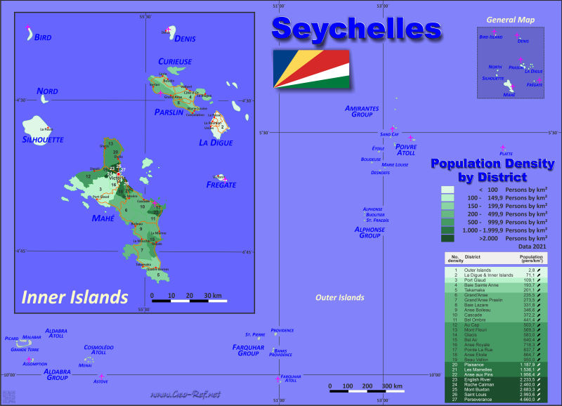 Map Seychelles - Administrative division - Population density 2019