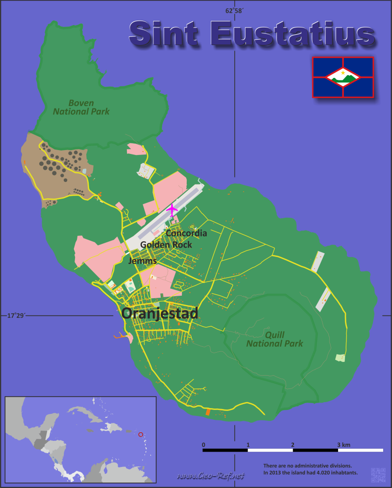 Sint Eustatius Country Data Links And Maps Of The Population - Sint eustatius map