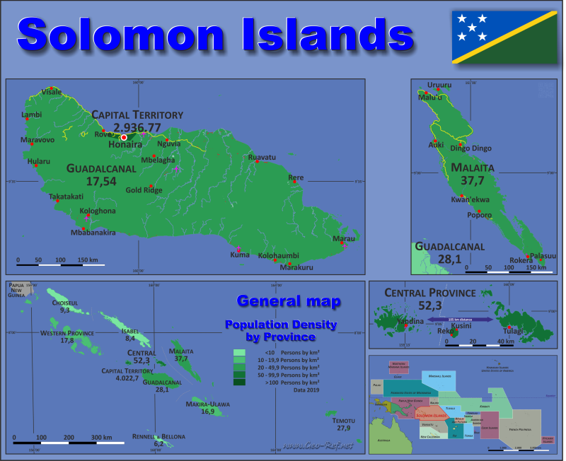 Map Solomon Islands Popultion density by administrative division