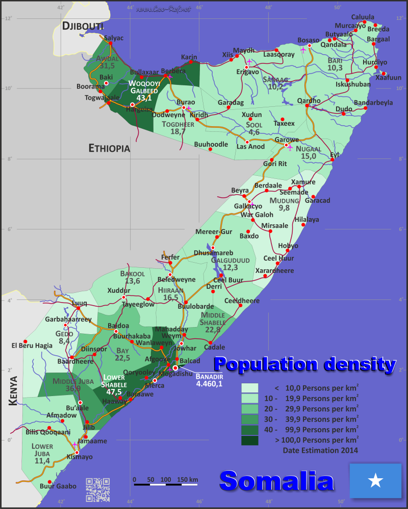 Somalia Country data, links and map by administrative structure