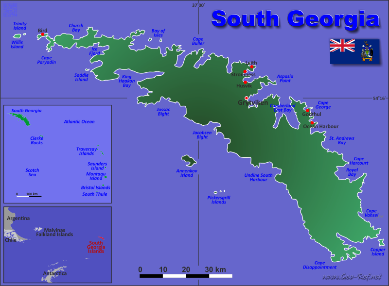 South Georgia Islands Country data, links and map by administrative ...