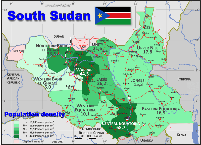 Map South Sudan - Population density