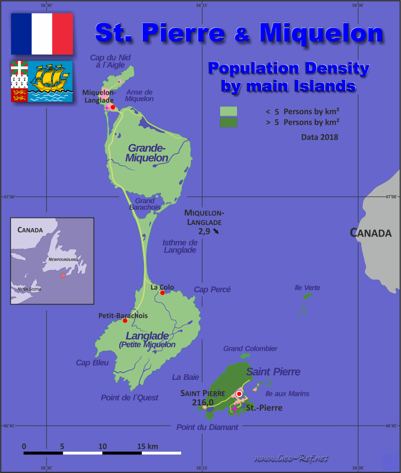 Map Saint Pierre Miquelon Popultion density by administrative