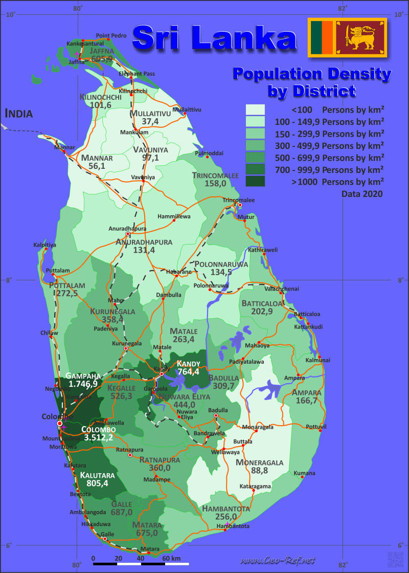 Map Sri Lanka - Administrative division - Population density 2020
