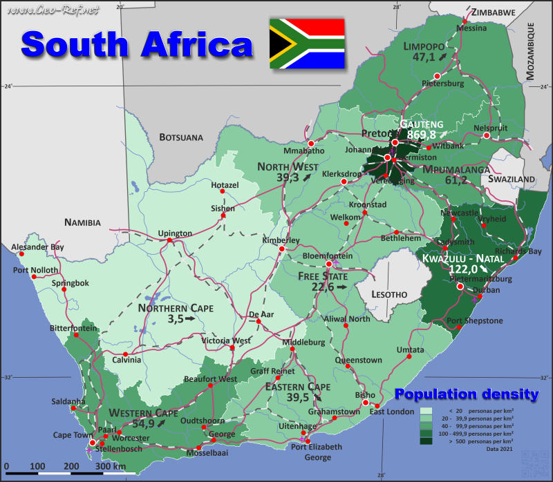 Map South Africa Popultion density by administrative division