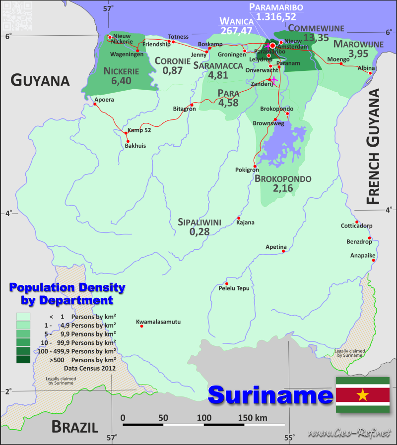Suriname Country data links and maps of the population density by