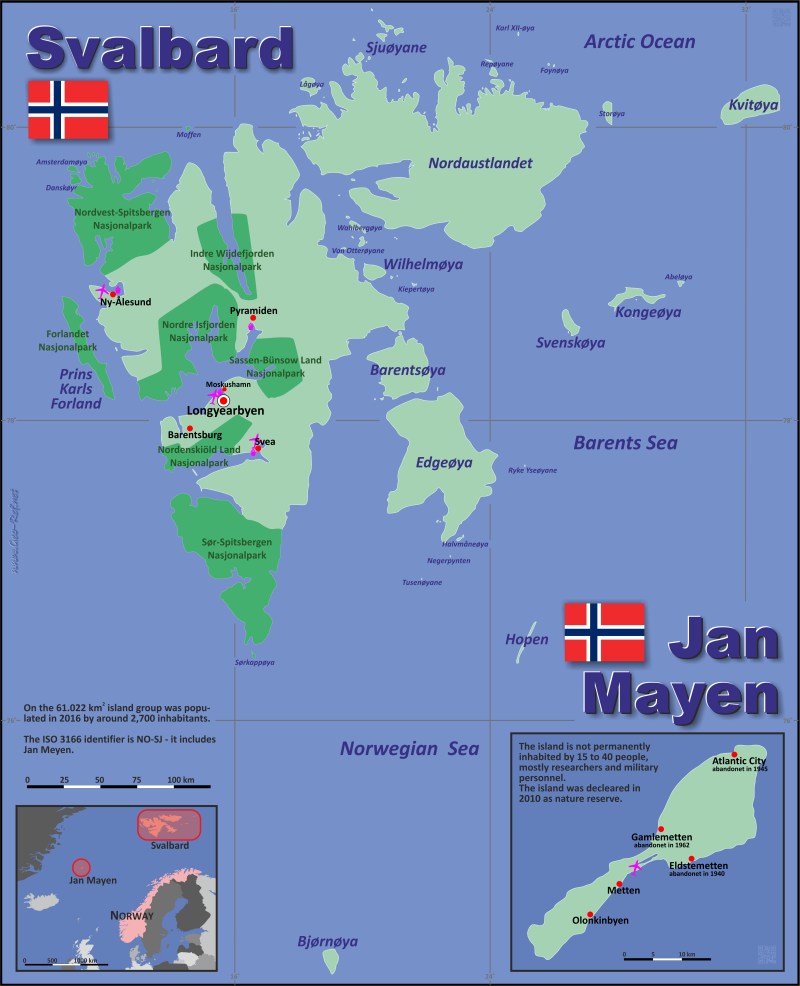 Map Jan Mayen - Administrative division - Population density 2016