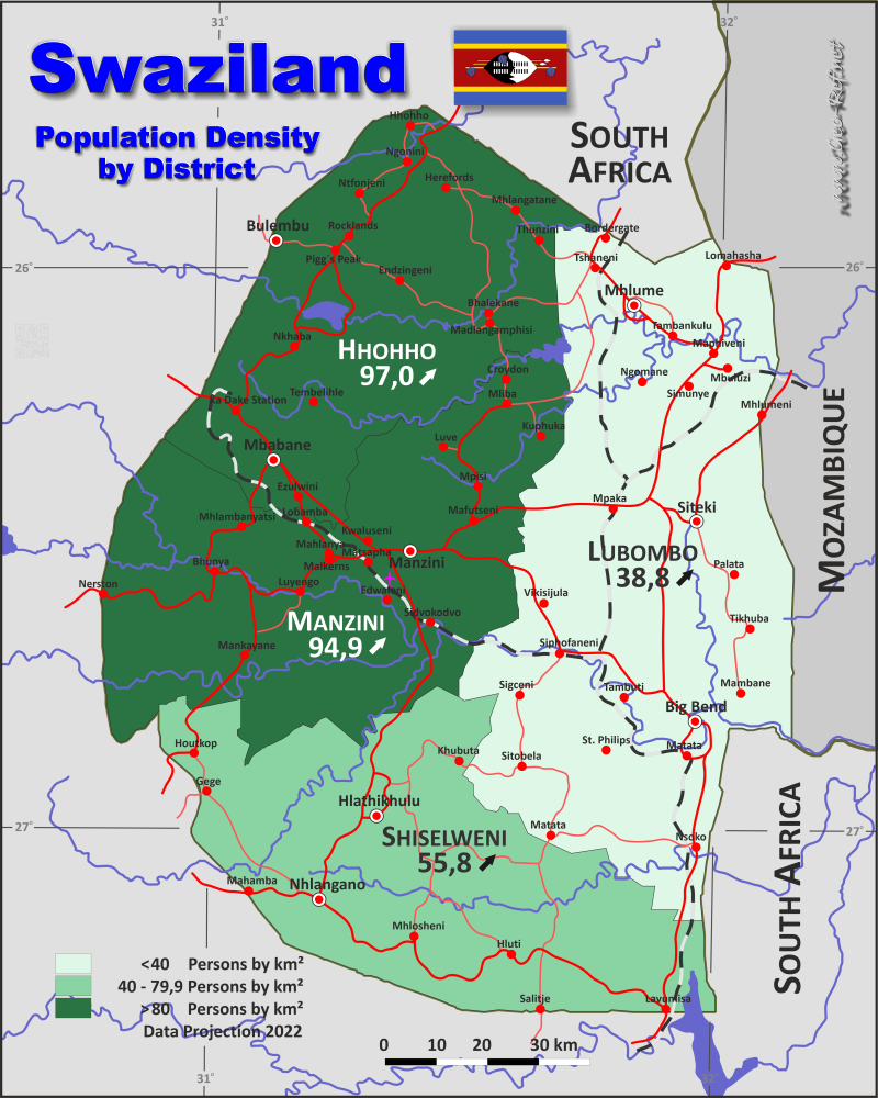 Swaziland Country Data Links And Maps Of The Population Density - Swaziland map
