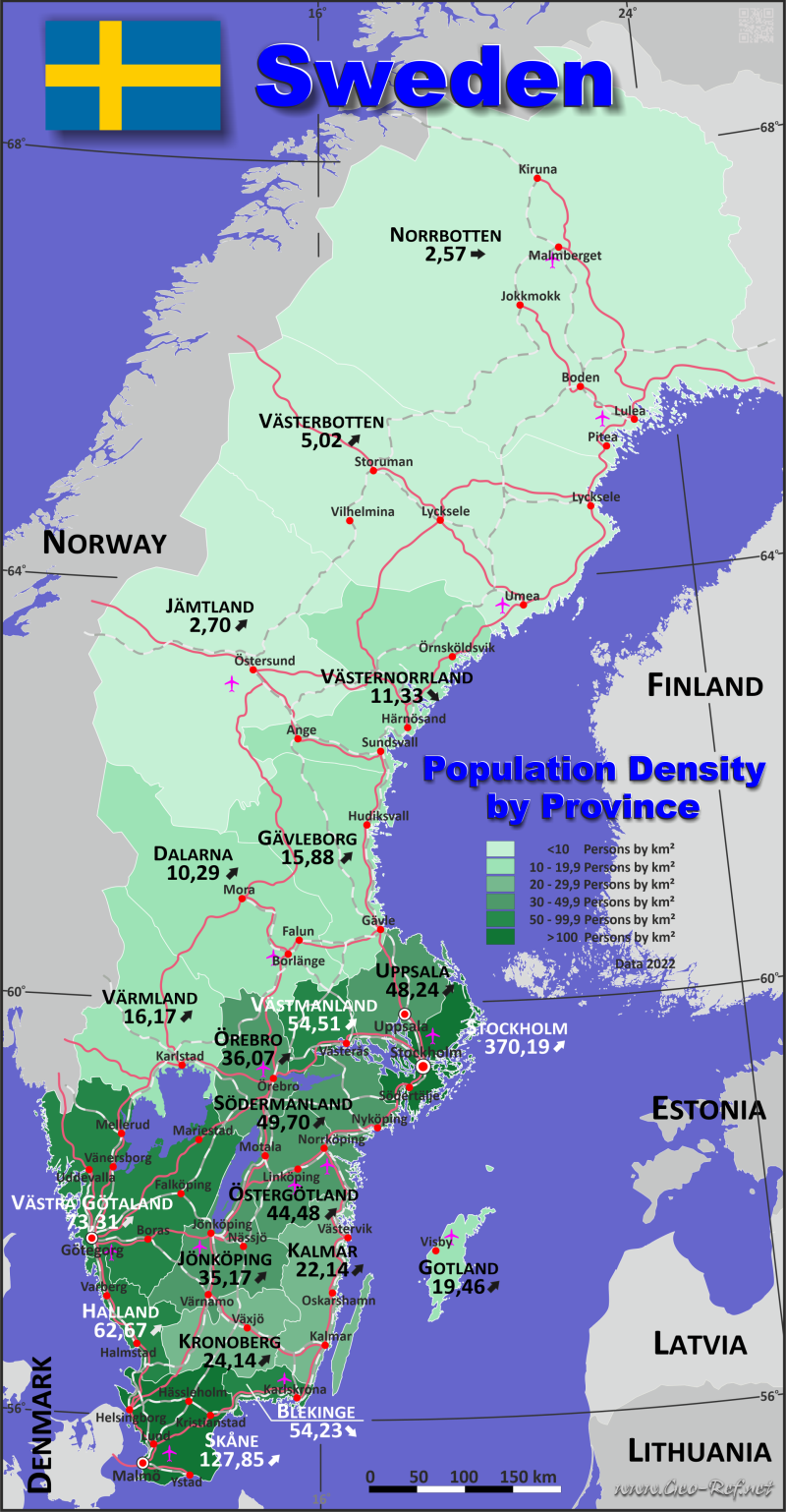Map Sweden - Administrative division - Population density 2021