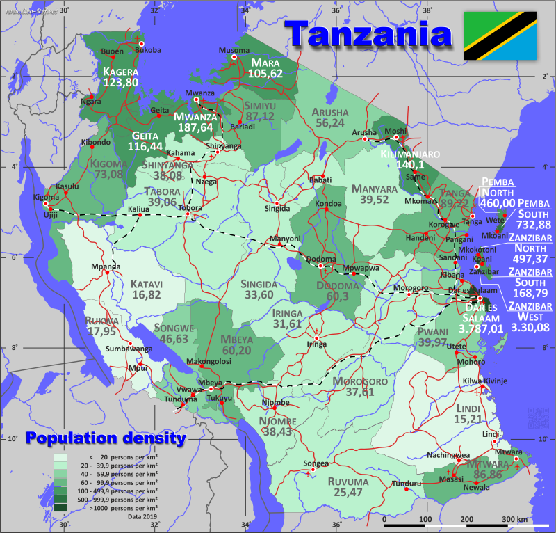 Map Tanzania - Population density