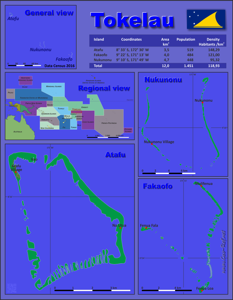 Tokelau Country Data Links And Maps Of The Population Density By - Tokelau map