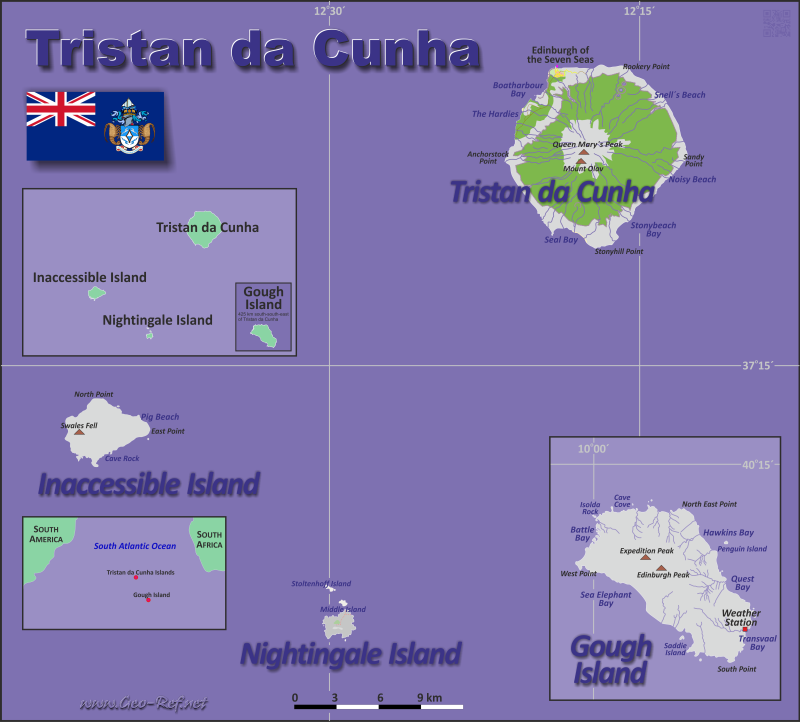 Map Tristan da Cunha - Population density
