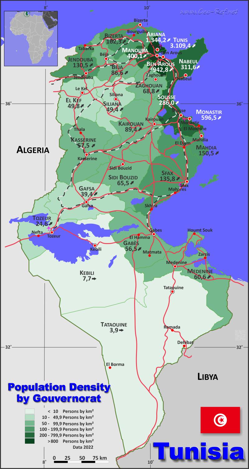 Tunesien Karte.Tunesien Karte Bevolkerungsdichte Und Verwaltungsgliederung