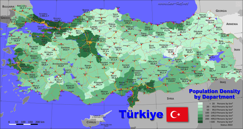 Map Turkey - Administrative division - Population density 2020