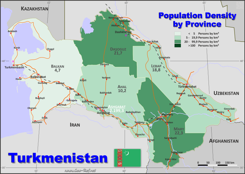 Map Turkmenistan - Population density