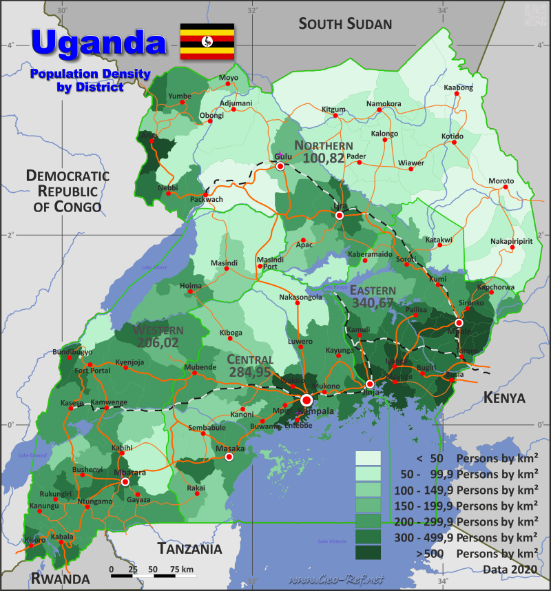 Uganda Country Data Links And Maps Of The Population Density By - Map of uganda