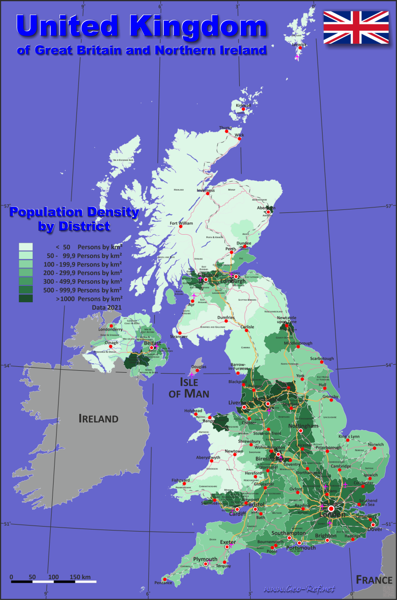 Great Britain Country data links and maps of the population density