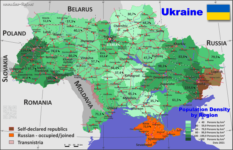 Ukraine Country data links and maps of the population density by