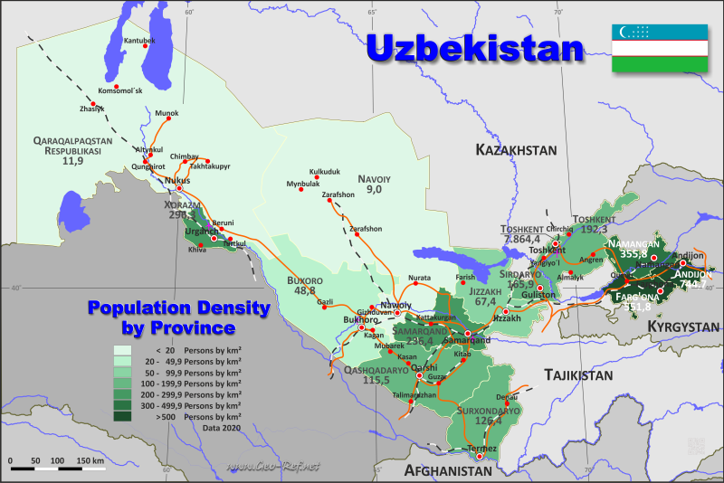 Map Uzbekistan - Population density